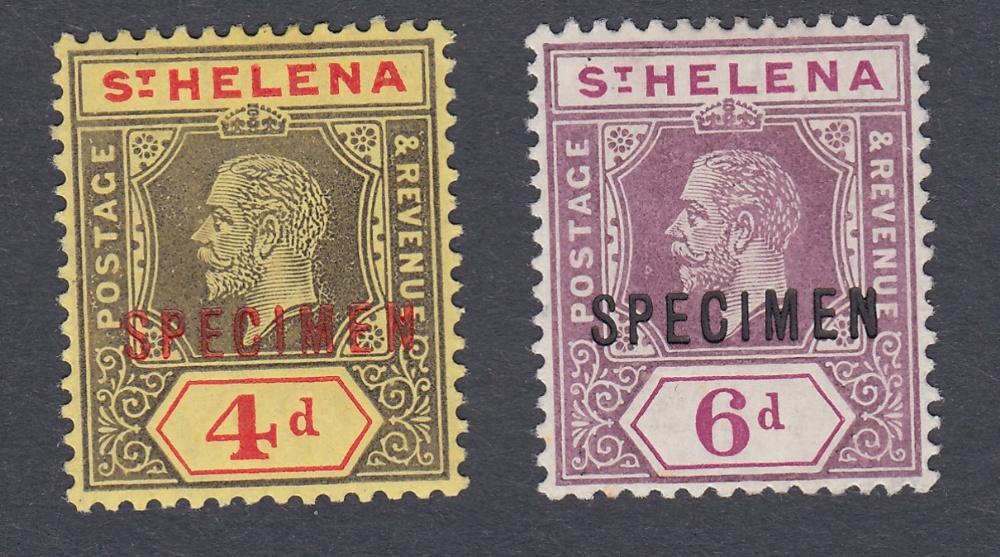 STAMPS ST HELENA 1913 4d and 6d SPECIMEN overprints,