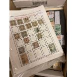 STAMPS WORLD, box with various mint & used on album pages, stock cards,