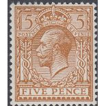 GREAT BRITAIN STAMPS 1912 5d Brown NON WATERMARK,