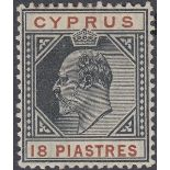 STAMPS CYPRUS 1908 18pi Black and Brown,