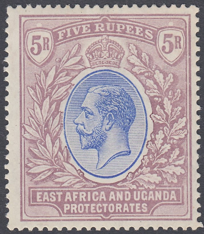 STAMPS 1912 East Africa and Uganda 5r Blue and Dull Purple, mounted mint,