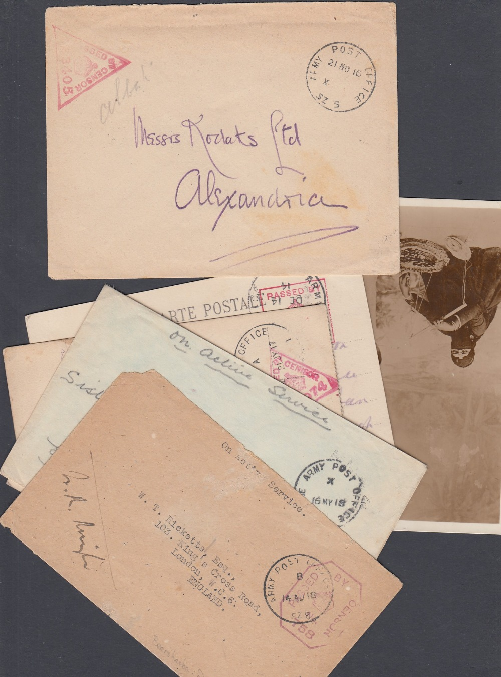 STAMPS POSTAL HISTORY EGYPT, seven WWI covers or cards all with Army Post Office datestamps,