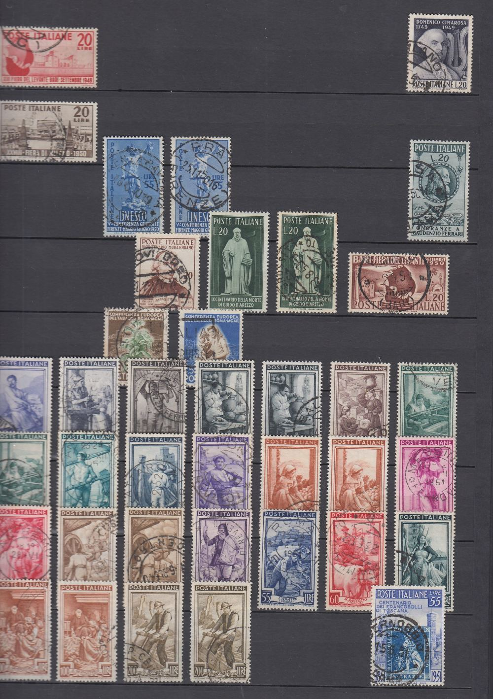 STAMPS ITALY Red Stock book with many 100's used and fine used issues, - Image 3 of 3
