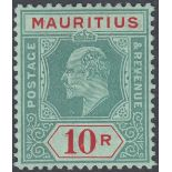 STAMPS MAURITIUS 1910 10r Gren and Red/Green mounted mint SG 195