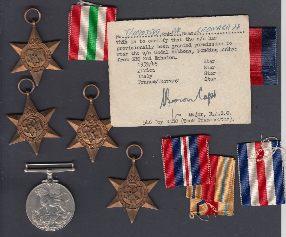 WWII medals, Group of 5 medals to Mr H Leonard with ribbons, France and Germany Star, Italy,
