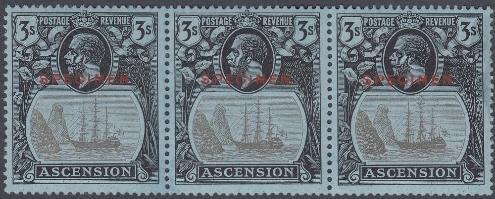 STAMPS ASCENSION 1924 3/- Grey-Black and Black Blue, lightly mounted mint strip of 3,