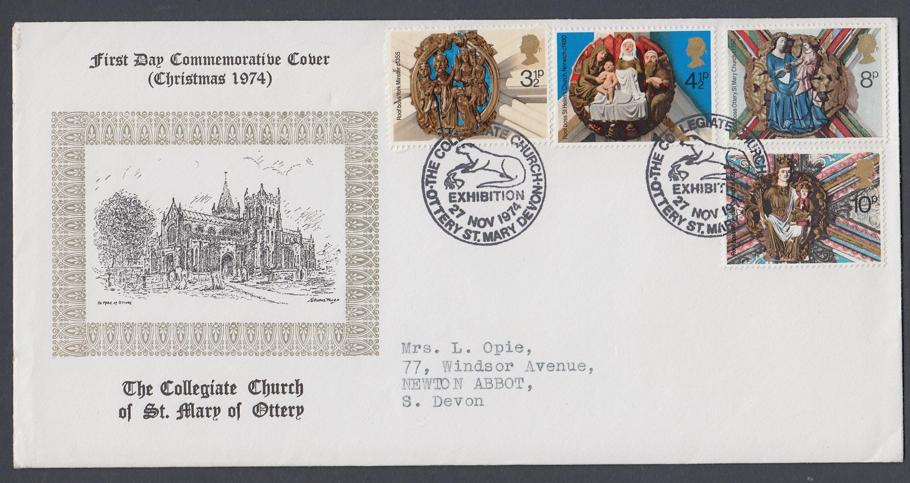STAMPS FRST DAY COVERS 1974 Christmas St Mary of Ottery Official FDC