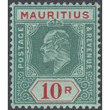 STAMPS MAURITIUS 1910 10r Green and Red/Green,