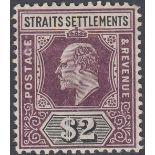 STAMPS MALAYA 1905 STRAITS SETLEMENTS $2 Dull Purple and Black, mounted mint,
