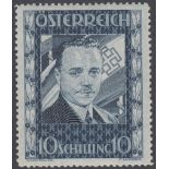 STAMPS AUSTRIA 1936 Chancellor Dollfuss 10s, fine U/M with 2021 photo certificate, SG 793.