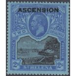 STAMPS ASCENSION 1922 2/- Black and Blue/Blue,
