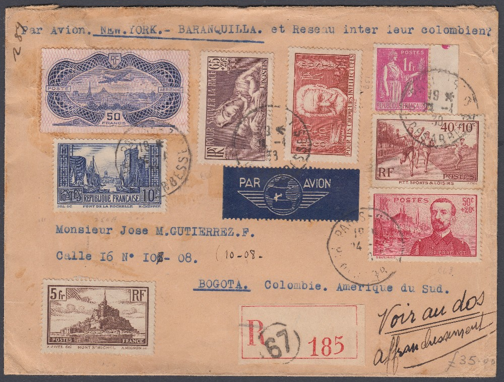 STAMPS POSTAL HISTORY 1938 airmail cover from France to Columbia,