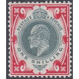 GREAT BRITAIN STAMPS 1902 1/- Dull Green and Carmine,