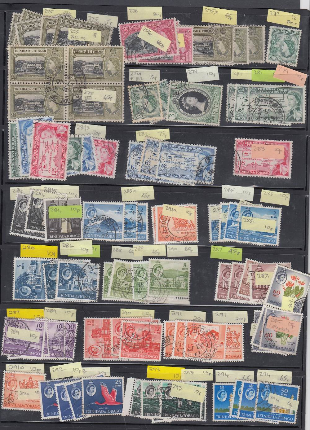 TRINIDAD AND TABAGO STAMPS Early to moderns ex-dealers stock on 29 stock pages, mint and used,