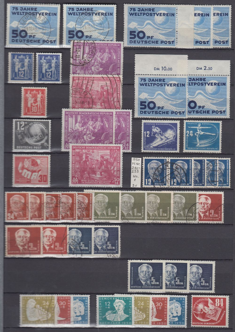 STAMPS GERMANY Large green stockbook 1949 - 1990 unmounted mint and fine used, including minisheets,
