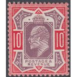 GREAT BRITAIN STAMPS 1902 10d Dull Purple and Scarlet (chalky),