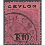 STAMPS CEYLON 1912 10r Purple and Black/Red good used example SG 318