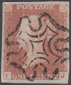 GREAT BRITAIN STAMPS 1841 Penny Red plate 21 lettered (IJ), superb four margin example,