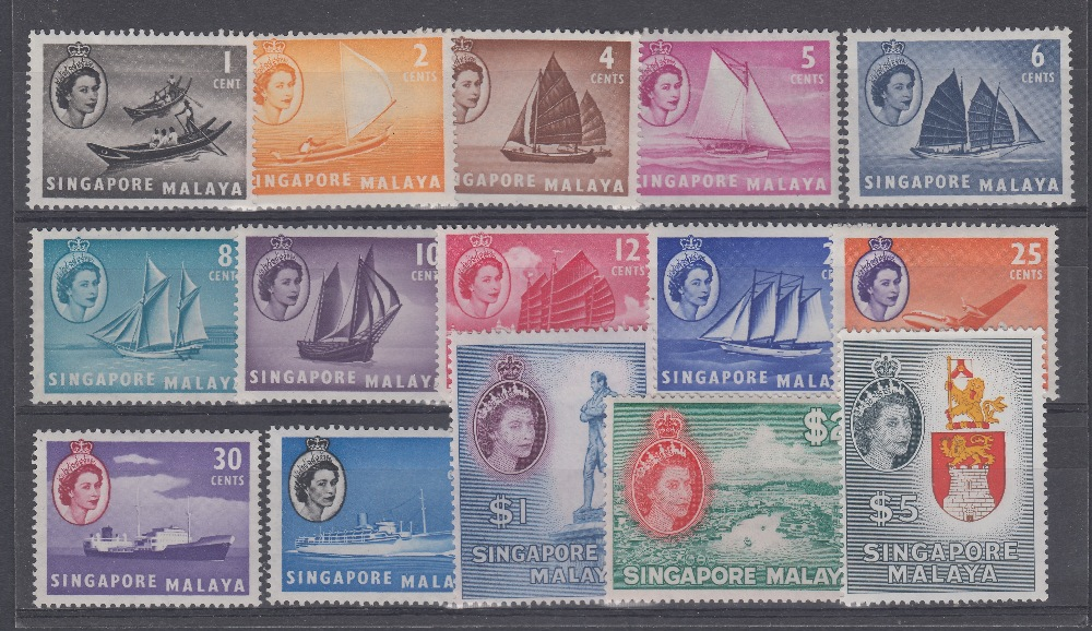 STAMPS SINGAPORE 1955 definitive set to $5 unmounted mint Cat £130