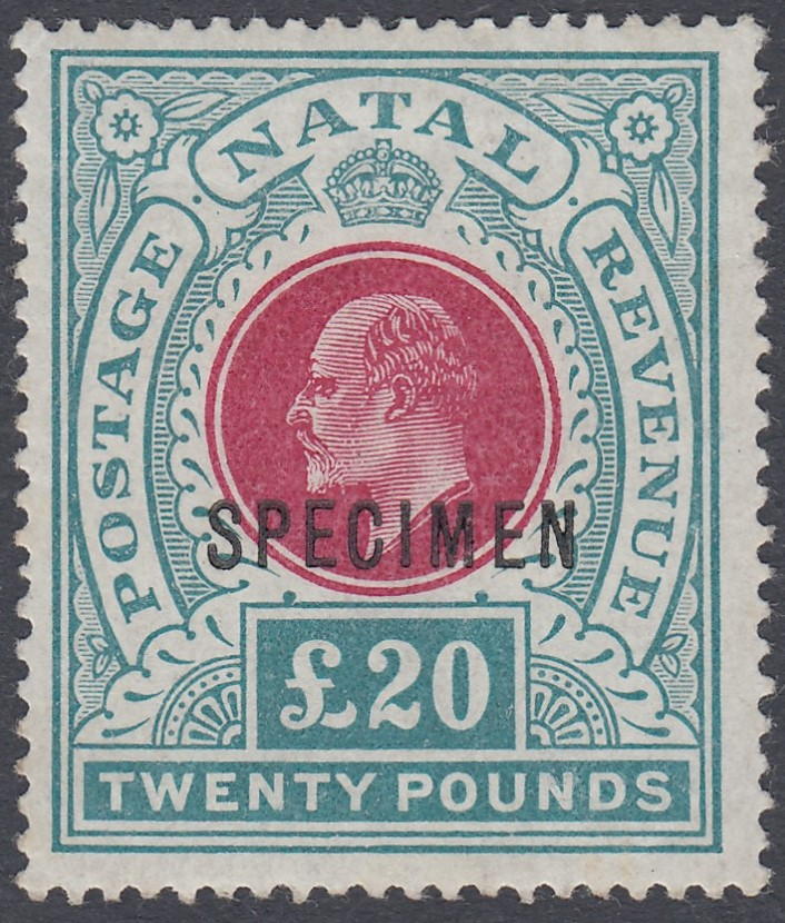 STAMPS 1902 NATAL £20 Red and Green mounted mint SPECIMEN overprint SG 145bs Cat £650
