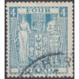 STAMPS NEWZEALAND 1952 £4 Light Blue Fiscal fine used example,