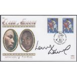AUTOGRAPH : Lennox Lewis signed 1993 Benham cover for the match against Frank Bruno,