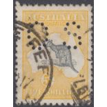 STAMPS AUSTRALIA 1915 5/- Grey and Yellow Official SG O37 Good Used