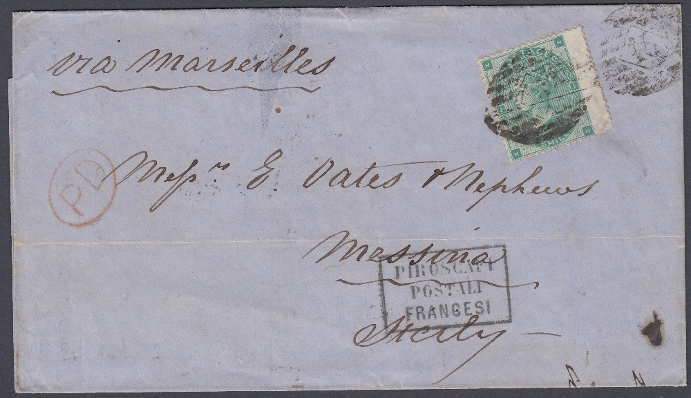 GREAT BRITAIN POSTAL HISTORY : 1864 1/- Green lettered (HH) plate 1 on wrapper from London to