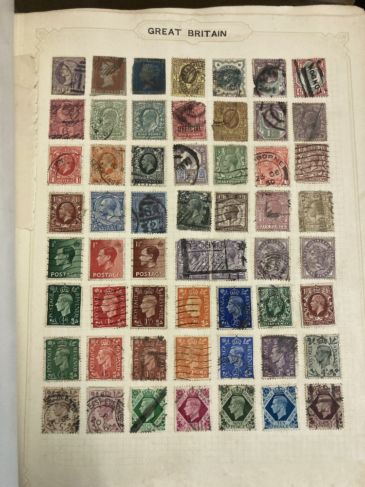 STAMPS Three albums appears to be mostly no later than 1950's and and old cigar box of loose stamps, - Image 4 of 4