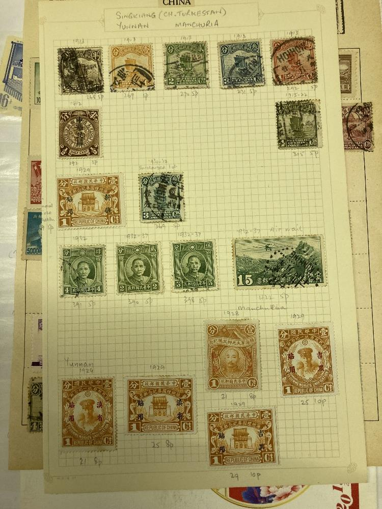 STAMPS CHINA Box with various mint & used on album pages in a stockbook etc. - Image 2 of 12