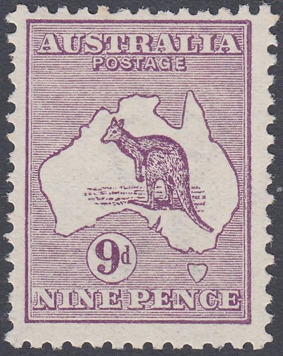 STAMPS AUSTRALIA 1913 9d Violet,