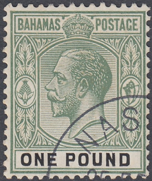 STAMPS BAHAMAS 1926 £1 Green and Black, very fine used example,