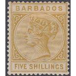 STAMPS BARBADOS 1886 5/- Bistre mounted mint SG 103