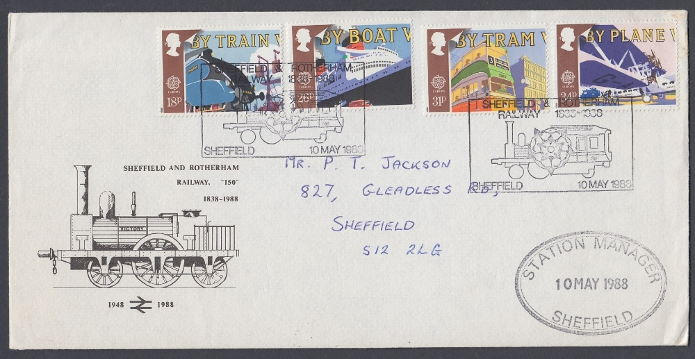 STAMPS FIRST DAY COVERS 1988 Transport Sheffield Railway Official cover,