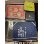 COINS Box with various coins, 1970 presentation case with coins, 1937 GVI Crown,