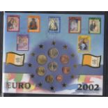 COINS Album containing sixteen Euro Coin covers, unusual to see including Vatican City.
