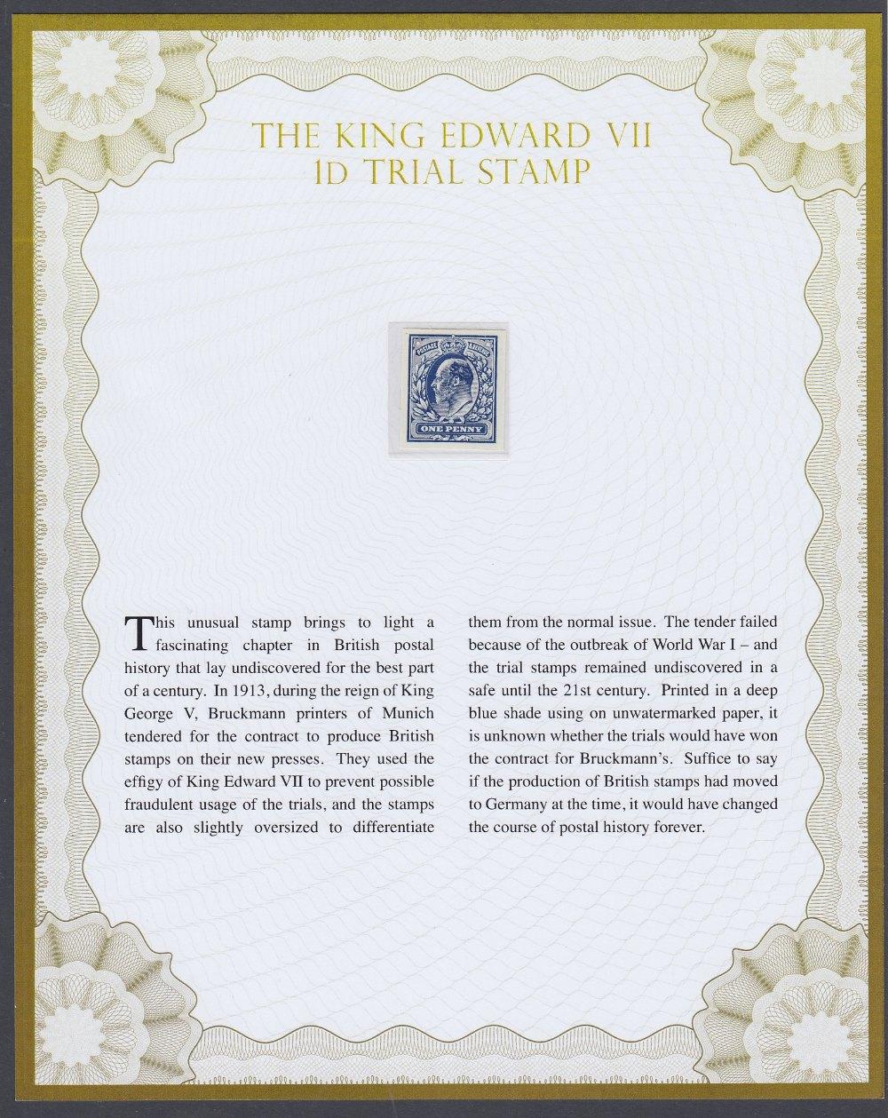 GREAT BRITAIN STAMPS : 1913 1d Blue Imperf colour trial Edward VII design,
