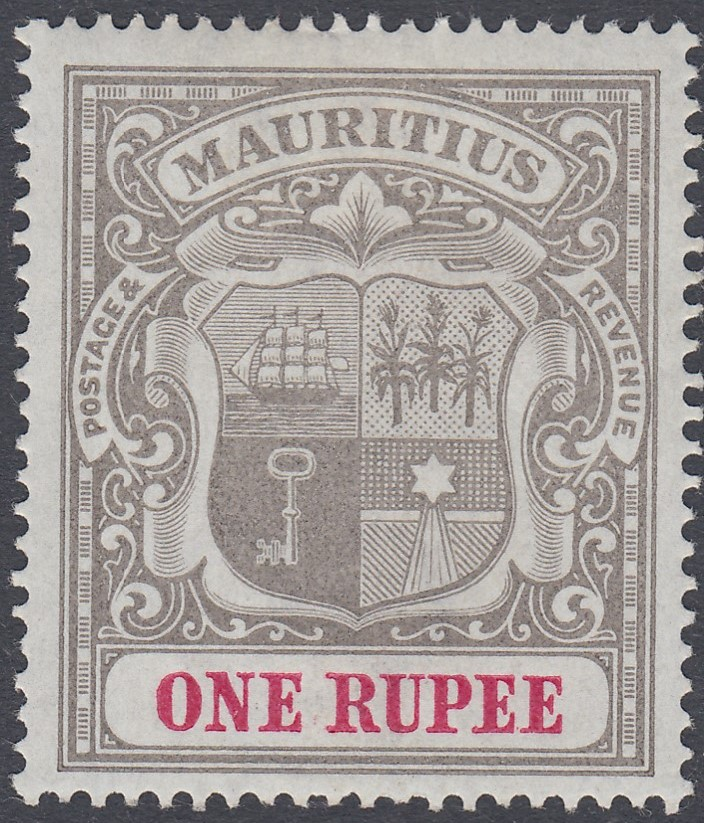 STAMPS MAURITIUS 1900 1r Grey Black and Carmine lightly mounted mint with INVERTED Wmk SG 153w