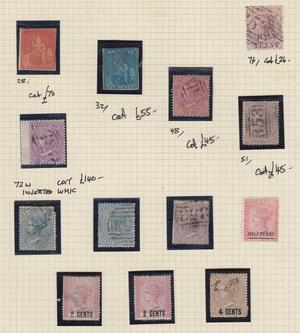 STAMPS MAURITIUS Collection mint and used QV to QEII, a few early classics, 1900 1r mint,