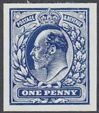 GREAT BRITAIN STAMPS : 1913 1d Blue Imperf colour trial Edward VII design, - Image 2 of 2