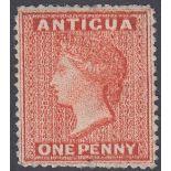 STAMPS ANTIGUA 1867 1d Vermilion mounted mint SIDEWAYS WMK.