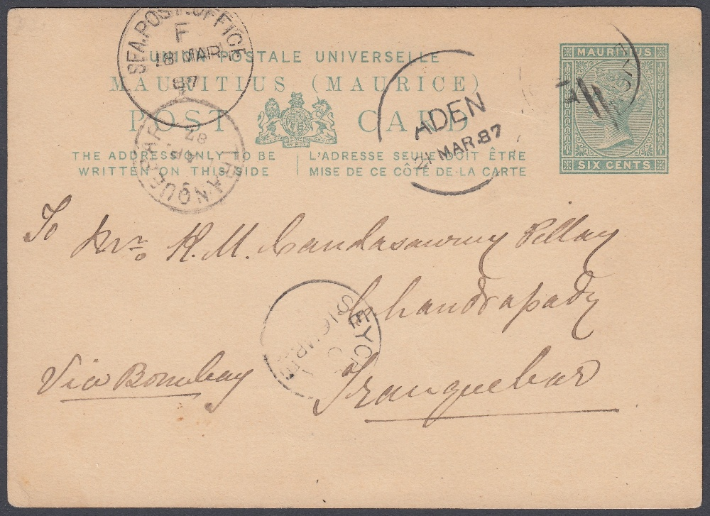 POSTAL HISTORY SEYCHELLES 1879 6d Green Mauritius postcard used in the Seychelles,