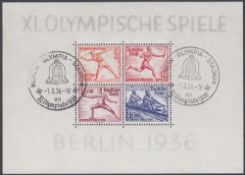 STAMPS GERMANY 1936 Summer Olympics mini sheet fine used SG 609-12