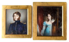 ˜Ⓖ TWO PORTRAIT MINIATURES, ONE OF JOHN COKE, THE OTHER OF A LADY, ENGLISH SCHOOL, CIRCA 1815