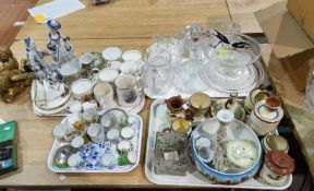 A selection of Royal commemorative and miniature china; A ships decanter; 2 cut water jugs; a 1930's