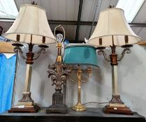 A pair of decorative table lamps; 4 others