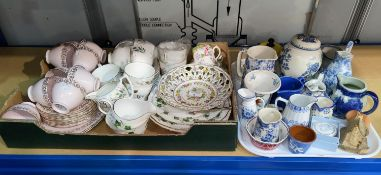 A selection of tea sets and blue and white china