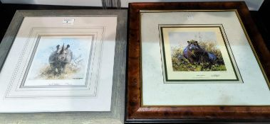 After David Shepherd, 2 signed limited edition prints Happy Hippo 1355 / 1500 and Rhino 673 /