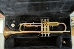 A modern Yamaha trumpet in hard carry case