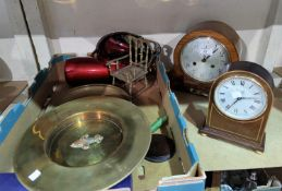 A 1930's mantel clock with strike; miscellaneous decorative items